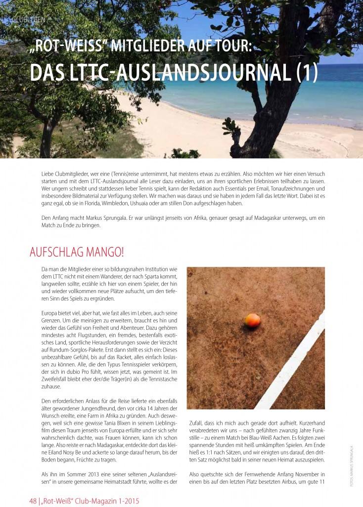 """Club-Magazin LTTC """"Rot-Weiß"""" - Mastervorlage"""